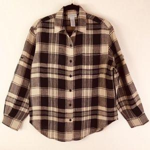 Linen Jones New York Plaid Long Sleeve Shirt M